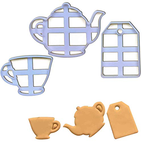 (SET of 3 cookie cutters (Teabag, Teacup and Teapot), 3 pcs, Ideal for high tea party)