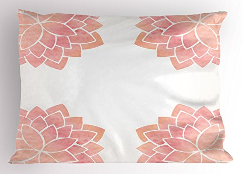 Ambesonne Floral Pillow Sham, Watercolor Petals Lotus Flower Meditation Yoga Spiritual Flora Beauty Artwork, Decorative Standard Size Printed Pillowcase, 26 X 20 Inches, Light Pink White by Ambesonne