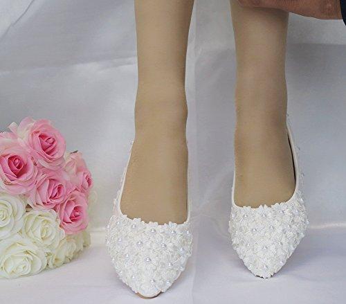 42 De 35 Boda Novia De A Bailarina Perla Pisos Encaje Fiesta Mujeres Zapatos Tamaño Apliques MSFS ZwqOI5T