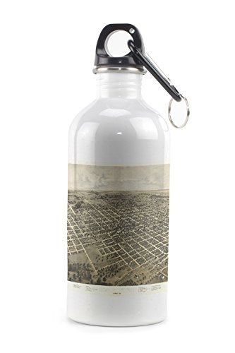 Bloomington, Illinois - Panoramic Map (20oz Stainless Steel Water Bottle w/ Carabiner)