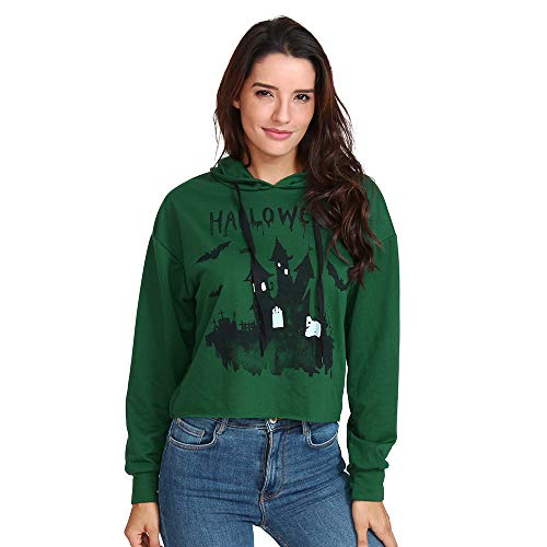 kaifongfu Womens Hooded,Halloween Print Ladies Long Sleeve Hoodie(Green,XL) -