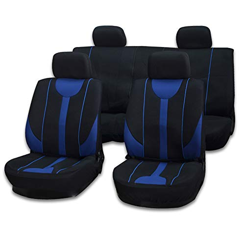 cciyu Seat Cover Universal Car Seat Cushion W/Headrest Covers - 100% Breathable Car Seat Cover Washable Auto Covers Replacement fit for Most Cars(Black/Blue)