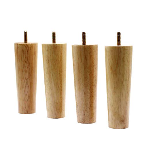 WEICHUAN Round Solid Wood Replacement Sofa Couch Chair Ottoman Loveseat Coffee Table Cabinet Furniture Wood Legs(Set of 4)