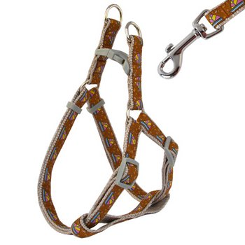 ''Dynamic Hues'' Woven Nylon Dog Cat Harness & Lead Set - Medium (16''-24'') / Mocha Brown by HOW'S YOUR DOG - Harnesses & Packs