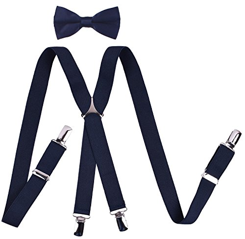 YJDS Boys' Suspenders and Bow Tie Sets Solid Clips Navy 22 Inches ()