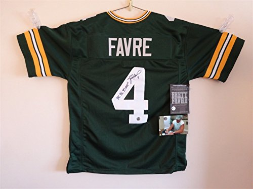 BRETT FAVRE SIGNED AUTO GREEN BAY PACKERS GREEN JERSEY 95 96 97 MVP AUTOGRAPHED