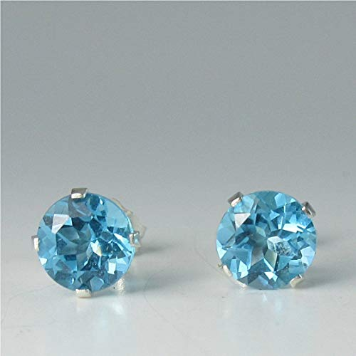 Swiss Blue Topaz Gemstone 6mm Studs Sterling Silver Earrings ()