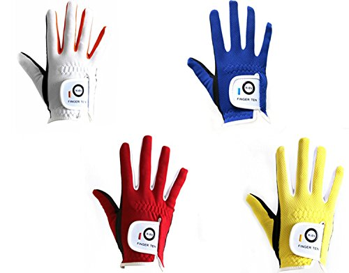 (FINGER TEN Junior Kids Dura Feel White Blue Red Yellow Golf Gloves (Small Red, Right))
