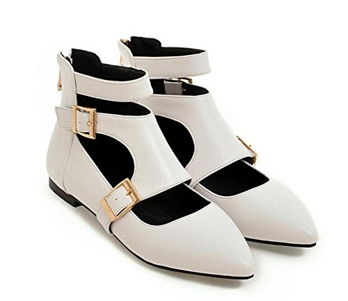GLTER Women's Shoes Toe Closed Buckle Pumps High Shoes Black Shoes Flat Tops Court White Roman SqRqCwn