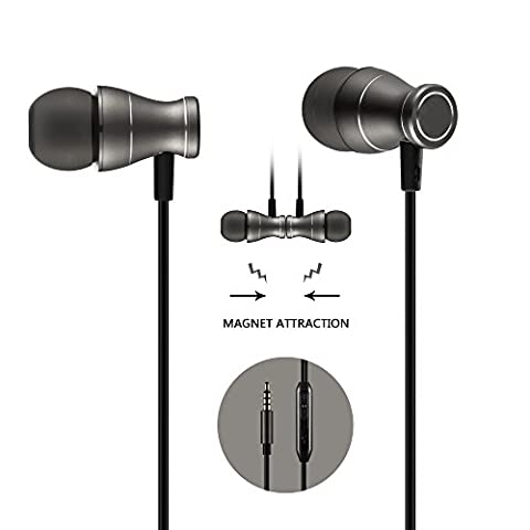 In-Ear Earbuds Earphones Headphones, Acode 3.5mm Metal Housing Magnetic Best Wired Bass Stereo Headset Built-in Mic for Samsung Galaxy S8/S8 Plus/Android Phones/ iPhone (Black)