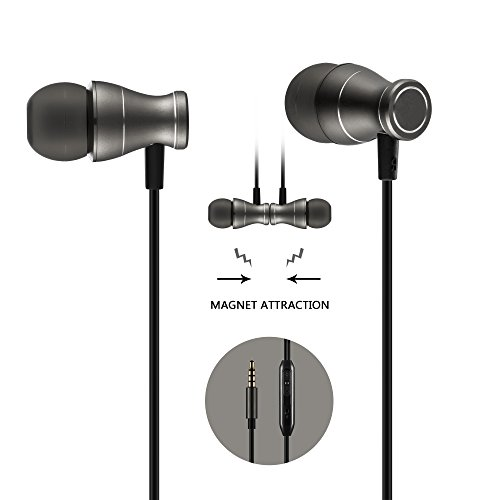 Price comparison product image in-Ear Earbuds Earphones Headphones,  Acode 3.5mm Metal Housing Magnetic Best Wired Bass Stereo Headset Built-in Mic / Hands-Free / Volume Control+Carrying