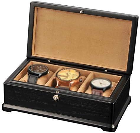 XUENUO Caja para Relojes 3 Relojes de joyería de Las Ranuras Organizador Caja de Reloj de Madera Caja de la Pantalla de Almacenamiento con 3 Eliminación,11121115367379092_Black: Amazon.es: Hogar