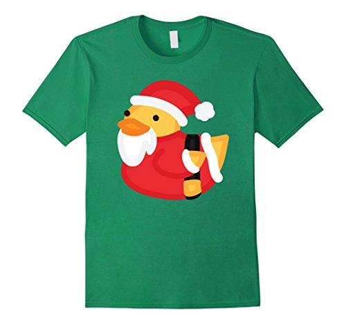 Rubber Duck Costume Ideas (Mens Christmas Duck Shirt - Funny Rubber Santa Duckling T-Shirt XL Kelly Green)