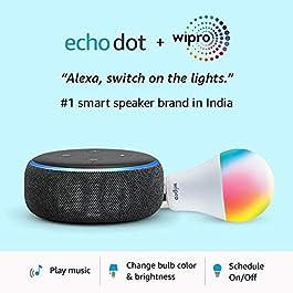 Echo Dot (3rd Gen, Black) + Wipro 9W LED Smart Color Bulb combo – Works with Alexa – Smart Home starter kit