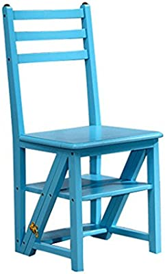 Taburetes escalera Paso taburete, hogar plegable escalera silla de madera maciza mesa de comedor silla de múltiples funciones plegable escaleras silla silla de escritorio jardín balcón escalera, tenie: Amazon.es: Hogar