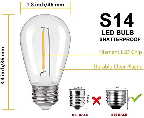 EMITTING Shatterproof & Waterproof S14 Replacement LED Light Bulbs –1W Equivalent to 10W, White Warm 2200K Outdoor String Lights Vintage LED Filament Bulb, E26 Base Edison LED Light Bulbs (S14-15PACK)