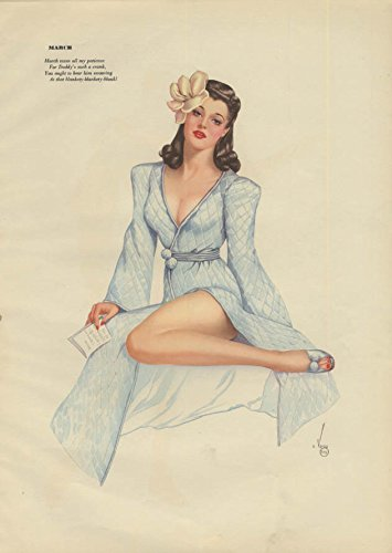 Quilted Frog (Vargas Esquire pin-up page 1940s Mar-Apr quilted robe / lovebirds in cage)