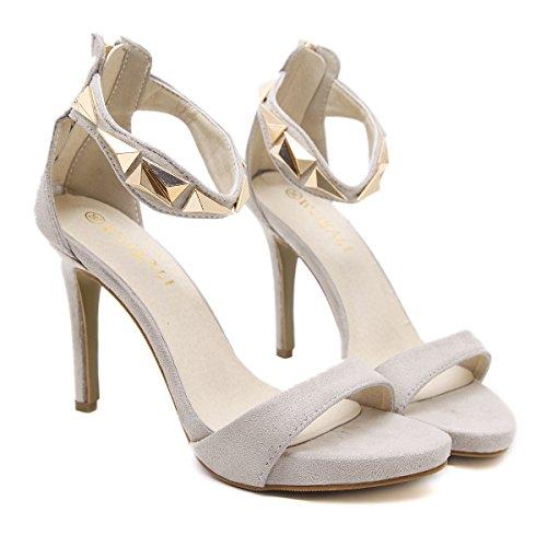 Señoras sandalias sandalias de tacón alto europea de de cómodas americana y moda UE con alto black y RUGAI tacón verano sandalias px6U5Oq
