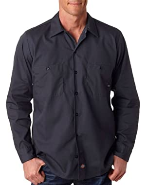 Men's Mitered Pockets Industrial Poplin Work Shirt, Charcoal, Medium