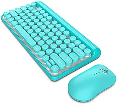 MeterMall New for HXSJ L100 Wireless Keyboard Set 2.4G Wireless Keyboard Punk Key Cap for Ultra-Thin Mouse Keyboard Set L100-blue Suit