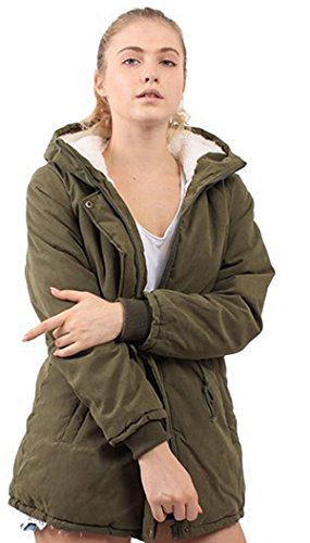 ZG&DD Women's Winter Warm Thicken Plus Jacket and Coats Hooded Parka Coat Outwear for Winter And for Autumn (Small, ARMY GREEN)