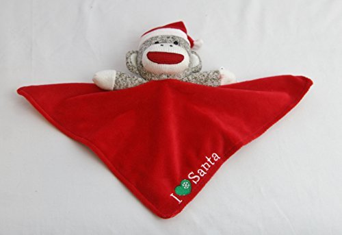 Plush Sock Monkey Christmas I Love (Heart) Snuggle Buddy Rattle by Baby ()