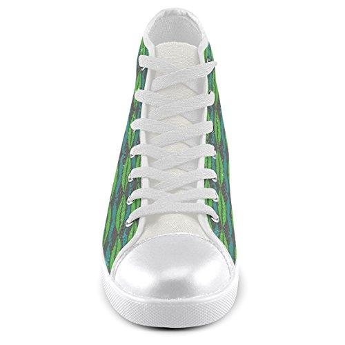 Artsadd Custom Green Hipster Baffi E Labbra Scarpe Alte In Tela Per Uomo (modello002)