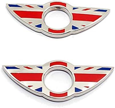 2 Stück Wing Emblem Ringe Türschloss Stiftknöpfe Abdeckungen Aufkleber Abzeichen Verkleidungen Für Mini Cooper R56 Schrägheck R57 Cabrio R58 Coupé R59 Roadster Union Jack Red Auto