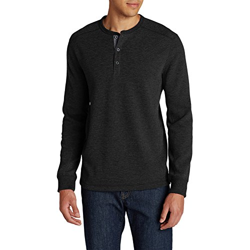 die's Favorite Thermal Henley Shirt, Faded Black Tall L ()
