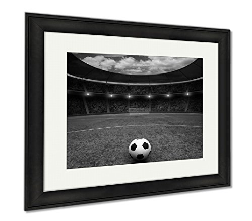 Ashley Framed Prints Soccer Ball On Green Stadium Arena In Night Illuminated Bright Spotlights, Modern Room Accent Piece, Black/White, 34x40 (frame size), Black Frame, AG5853340 by Ashley Framed Prints