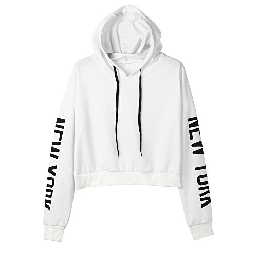 CUCUHAM Womens Letters Long Sleeve Hoodie Sweatshirt Pullover Tops Blouse WH/XS(White,X-Small) ()