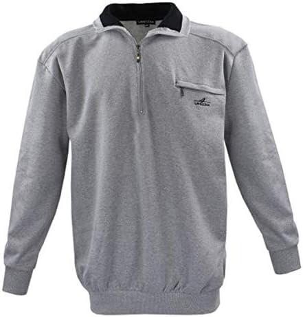 Lavecchia Übergrössen ! Schickes Sweatshirt mit Troyerkragen und Zipper Grau LV-2100