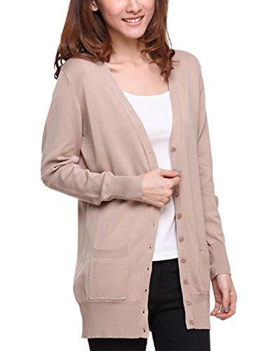 S-7 Women's Thin Button Down Knit Cardigan Sweater (Large, Khaki)