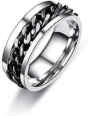 Rotating Chain Ring for Womens Mens Stainless Steel Beer Bottle Opener Ring