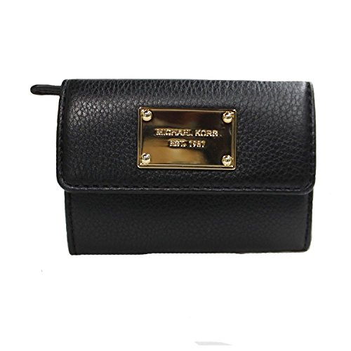 Michael Kors Flap Coin Purse ID Small Wallet Black Leather