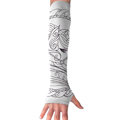 cool pattern Compression Design Sun Protection Arms Cover For Boy Jogging Thumb Holes (Boy Fairy Tale Graffiti)