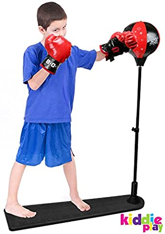 Kiddie Play Standing Boxing Set with Punching Ball and Gloves for Kids (Large) - Youth Base Set