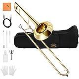 Eastar Bb Tenor Slide Trombone Brass with Hard Case Mouthpiece Cleaning Kit & Care Kit Standard Student Beginner Trombone ETB-330