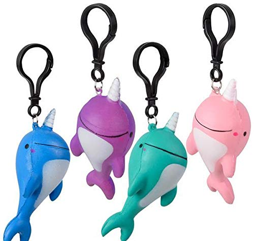 Case of 144 DollarItemDirect 4 Squish NARWHAL Backpack Clip 12//