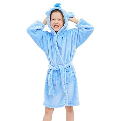 IDGIRLS Kids Animal Hooded Soft Plush Flannel Bathrobes for Girls Boys Sleepwear Blue Elephant L