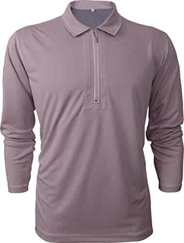 7c5c758be2a8 Men s Light Weight Dry Fit Moisture Wicking Soft Touch Short Sleeve Quarter  Zip Reversible Performance Polo