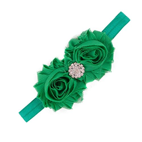 DZT1968® Baby Girl Narrow Turban Headband Head Wrap Hair Band With Rhinestone Flower (Green) - Narrow Green Band