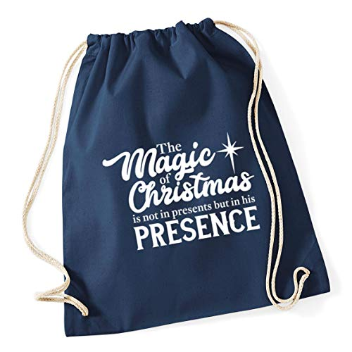 Bag 37cm 12 Cotton Navy French Drawstring Hippowarehouse his Gym is christmas magic presents of The x presence School litres 46cm but in the not in 1g1UTq