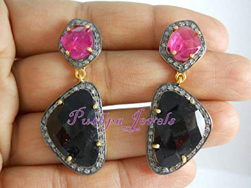 Estate Style Antique Finish 2.40cts Pave Diamond Ruby Sapphire Sterling Silver Earrings