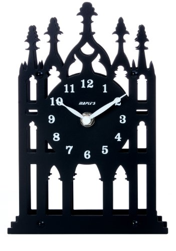 (Maple's Cathedral Theme Silhouette Spire Metal Table Clock, Black)