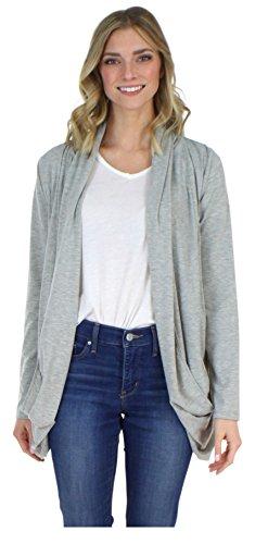 (PajamaMania Women's Sleepwear Lightweight Knit Long Sleeve Open Front Slouch Cardigan Wrap, Melange Grey (PMR1821-2027-S/M))