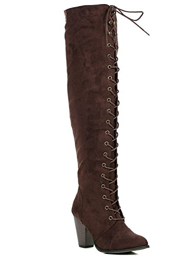 ShoBeautiful Womens Chunky Heel Over The Knee High Riding Boots Lace up Corset Thigh High Combat Boots Winter Shoes by Brown ()
