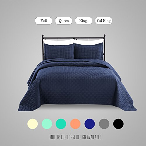 Luxe Bedding 3-piece Oversized Quilted Bedspread Coverlet Set (Full/Queen, Navy Blue)