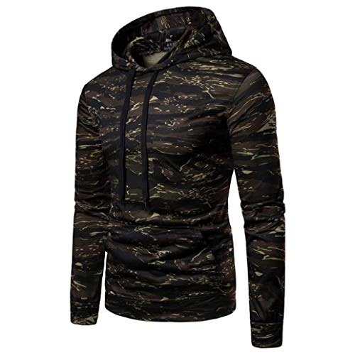 WUAI Clearance Deals,Mens Hoodie Jackets Long Sleeve Camouflage Slim Fit Casual Sweatshirt Hooded Coat (Camouflage ,US Size L = Tag XL)
