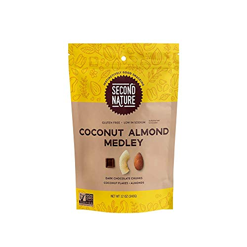 Second Nature Coconut Almond Medley Trail Mix - Healthy Nuts Snack Blend of Whole Almonds, Toasted Coconut Chips & Dark Chocolate Chunks, 12 oz Resealable Pouch